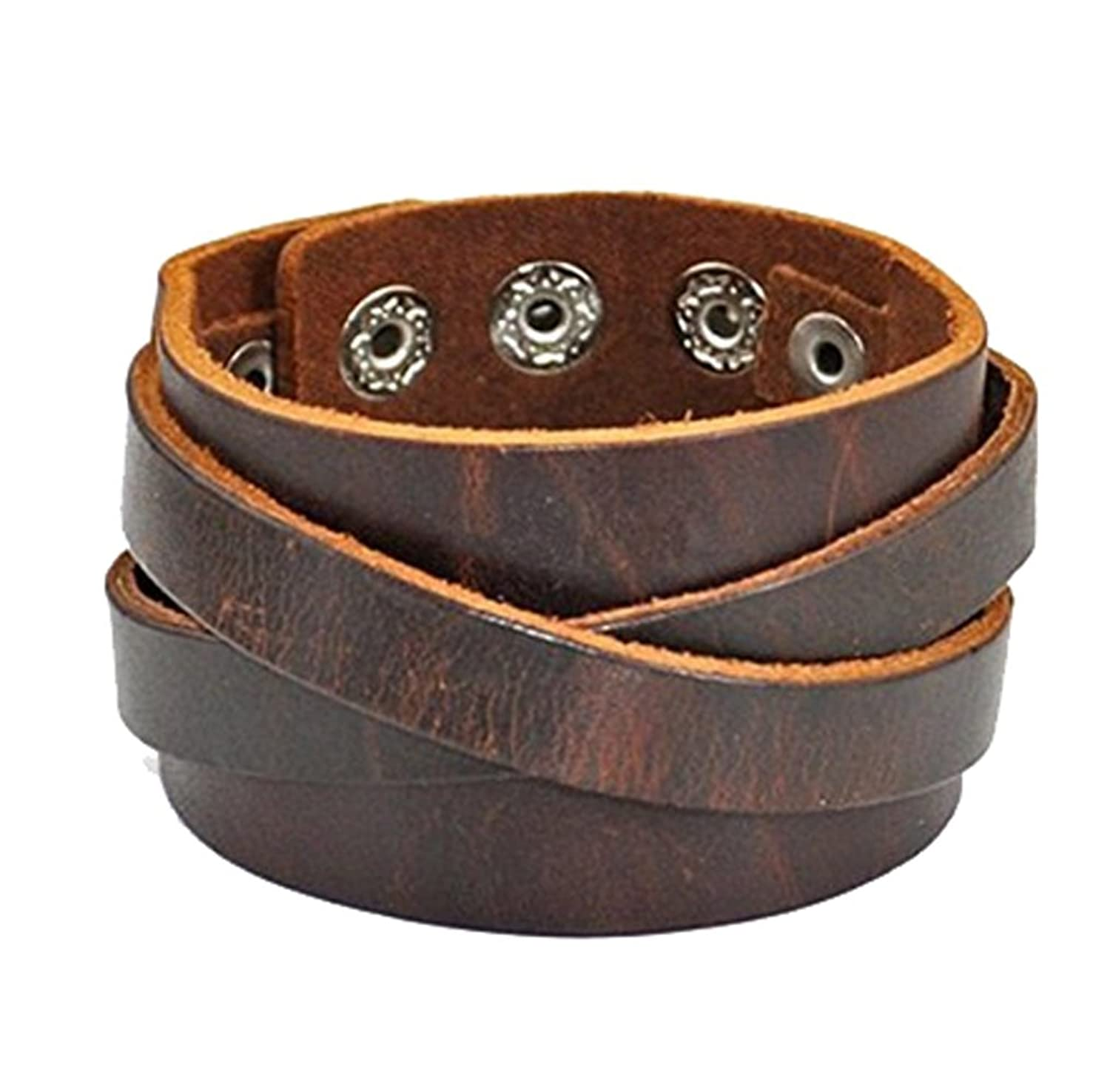 Amazon: Cherryzz Real Leather Cuff Women Leather Bangle Bracelet, Men  Leather Cuff Bracelet, Wide Belt Bracelet: Jewelry