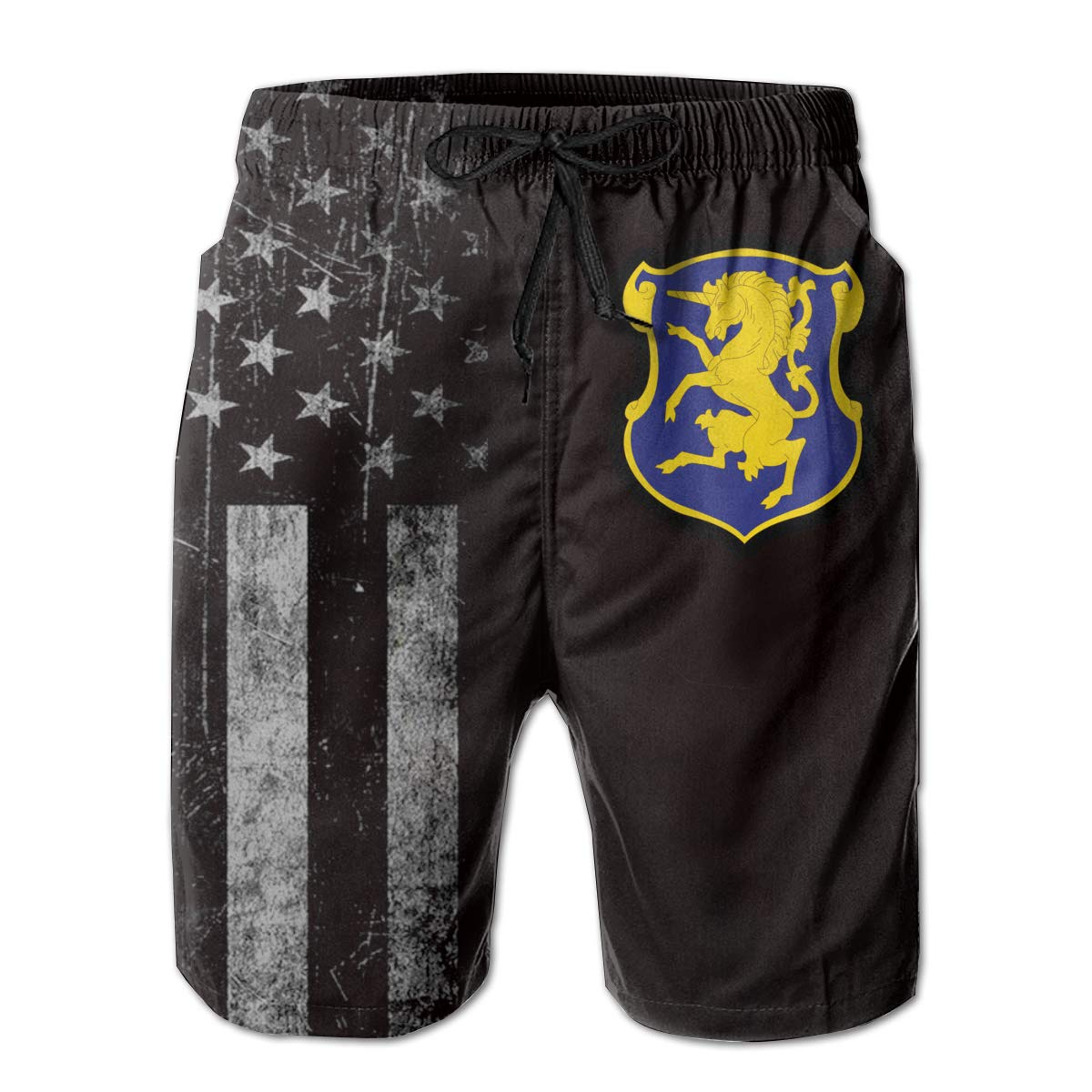 HANINPZ American Flag with 6th Cavalry Regiment Mens Swim Trunks Beach Short Board Shorts