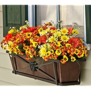 Tapered Iron Window Box with Oil-Rubbed Bronze Metal Liner