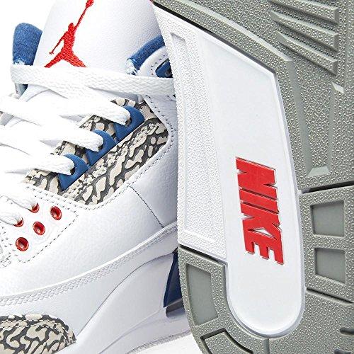 Nike Air Jordan 3 Retro Menns Hi Top Basketball Trenere 136064 Joggesko Sko Hvit / True Blue