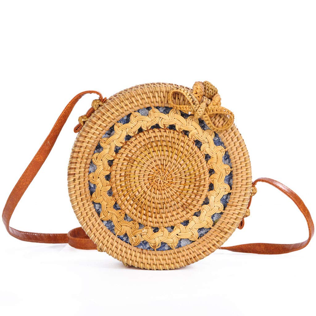 Women's Bag, Rattan Bag - Mesh - Open Beach Bag - Round Crossbody Bag - Lined - Vintage Floral Bag