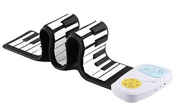 88 versión mejorada del ciclomotor electrónico portátil de rodillo de mano verde de silicona teclado teclado de vacaciones para niños regalo principiante de ...
