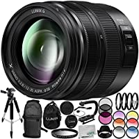 Panasonic Lumix G X Vario 12-35mm f/2.8 II ASPH. POWER O.I.S. Lens 14PC Accessory Bundle – Includes Manufacturer Accessories + 3 Piece Filter Kit (UV + CPL + FLD) + MORE