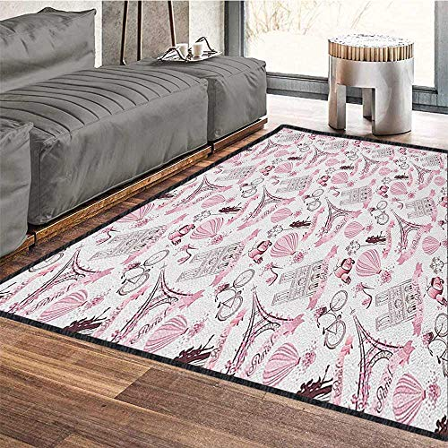 Paris Modern Abstract Floor Mat,Love Valentines Day Theme with Eiffel Kissing Couple Air Balloon Wedding Concept Waterproof and Easy Clean Baby Pink Rose 79