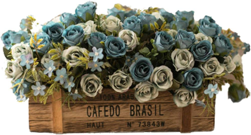 DAN&LAN Artificial Flowers Faux Flower Bouquet Floral Arrangements in Wooden Box Planter Desktop Potted Bonsai for Home Office Windowsill Decoration (Blue)