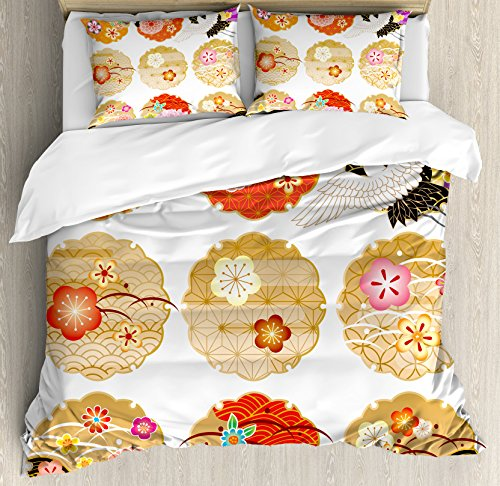 Ambesonne Japanese Duvet Cover Set King Size, Floral Round Patterns Antique Asian Nature Figures Style Organic Theme Artwork, Decorative 3 Piece Bedding Set with 2 Pillow Shams, Multicolor (Asian Theme Comforter)