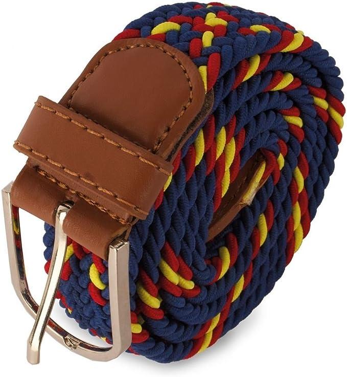 Cinturón trenzado elástico bandera de España, presentado en bolsa exterior de tela granate: Amazon.es: Ropa y accesorios