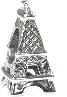 Iron Tower 925 Sterling Silver Clear CZ Pendant Bead Fit European Bracelet Chain
