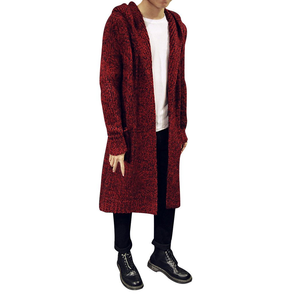 9399d07ff5e Stunner Men s Spring Slim with Hood Sweater Casual Long Cardigan at Amazon  Men s Clothing store