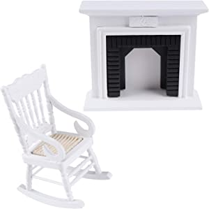 Haomian 2 Sets Mini Dollhouse Furniture, Including 1 White Miniture Dollhouse Wooden Rocking Chairs and 1 Wooden Vintage Black White Fireplace, for Doll House Decoration Dollhouse Accessories