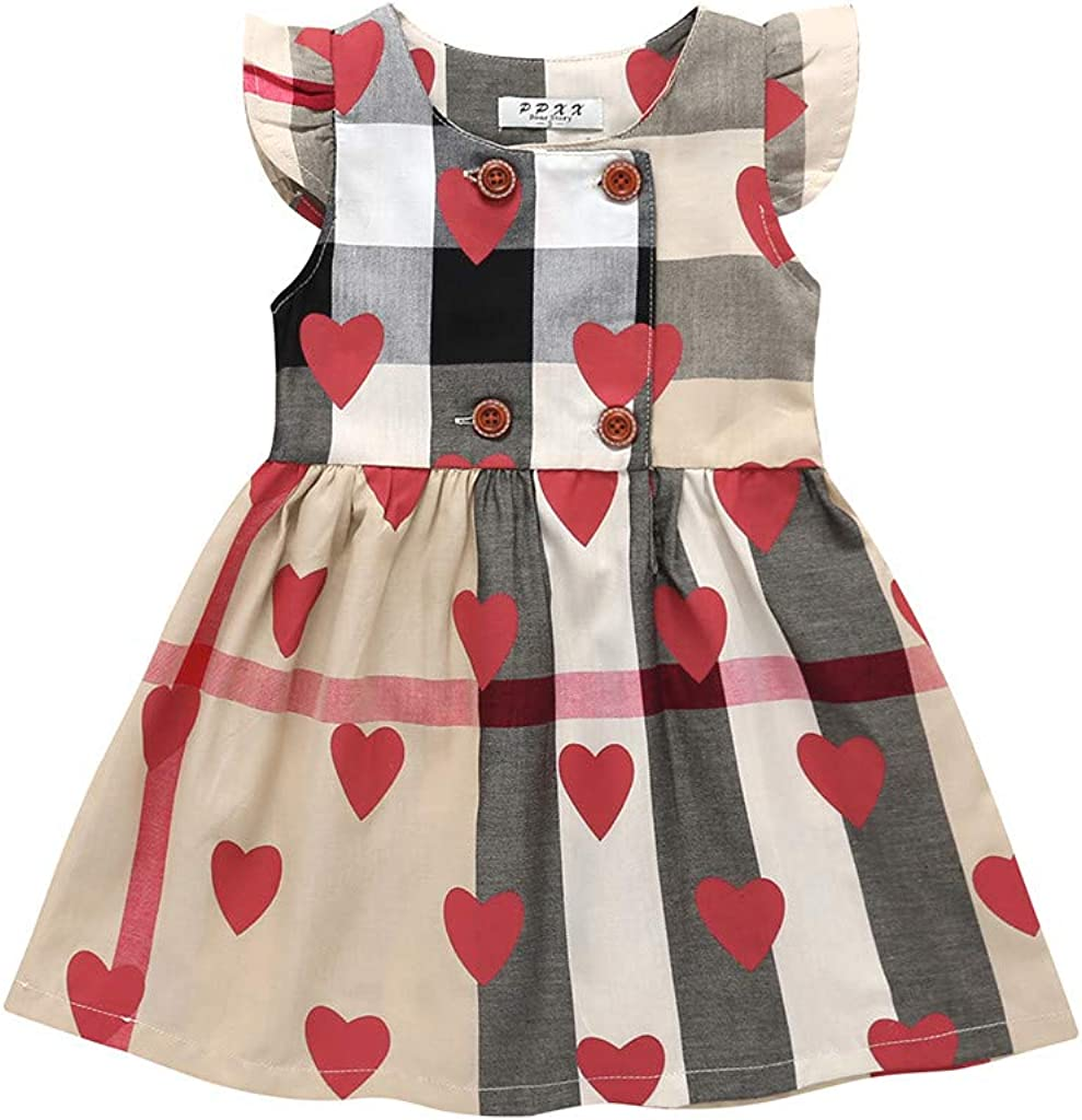 Toddler Infant Ruffles Dress Solid Long Sleeve Dresses Short Sleeve Ruffle Dress Cotton Clothes Fyhuzp Baby Girls Dress