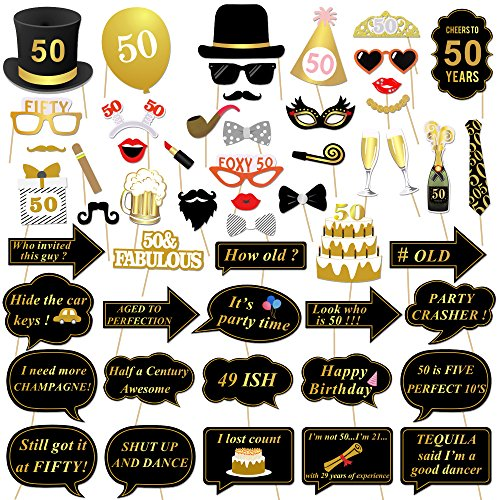 Konsait 50th Birthday Photo Booth Props, 50 Black