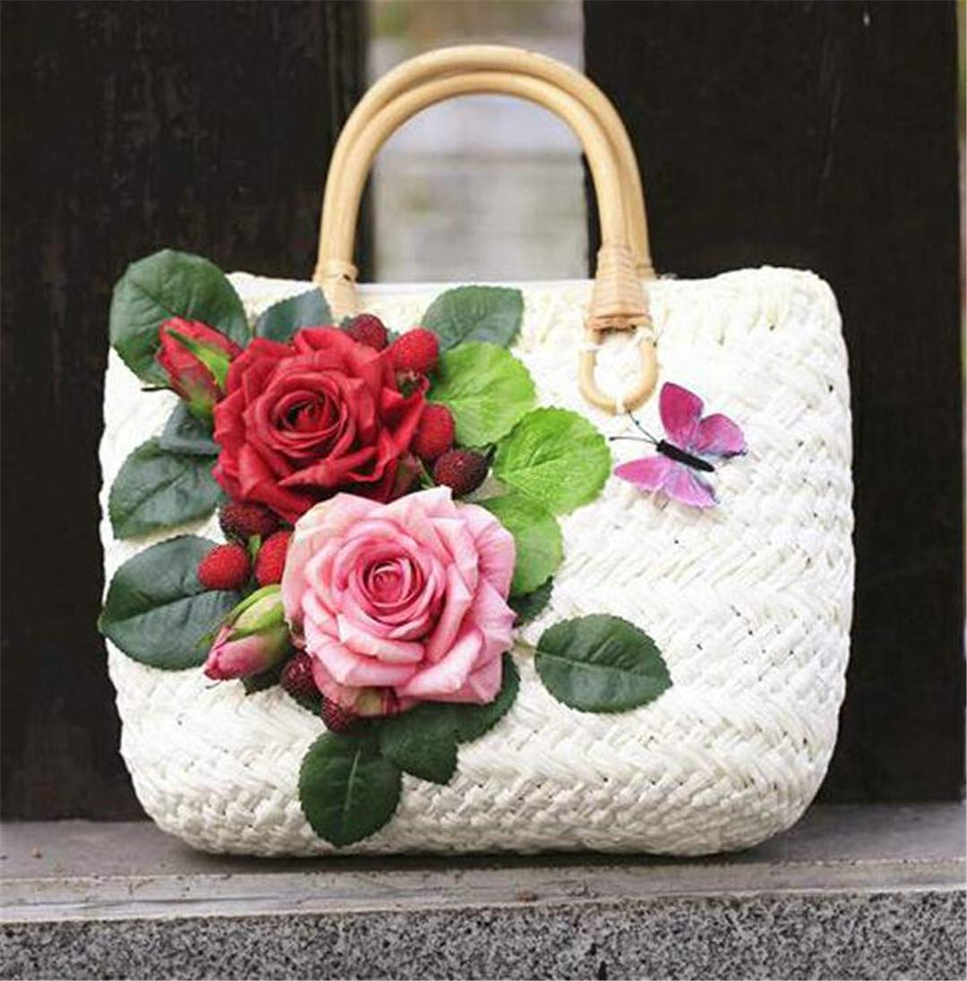 327ec5777227 Amazon.com: Fashion Outdoor Summer Straw Bags For Women Flowers ...