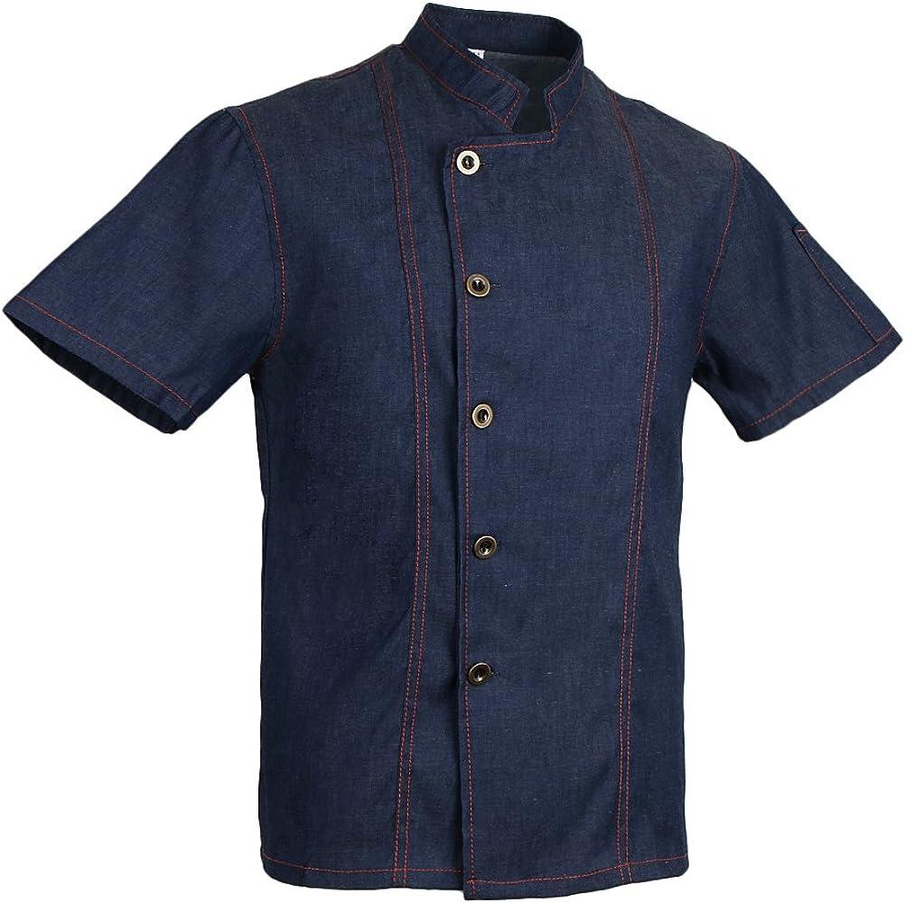 Camisa Mezclilla Unisex Chef Chaqueta Mangas Cortas Camiseta Cocina Uniforme Emocionante Estilo Apparel - Azul, 3XL: Amazon.es: Ropa y accesorios
