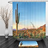 Vipsung Shower Curtain And Ground MatSaguaro CactusSun Goes Down in Desert Prickly-pear Cactus Southwest Texas National Park Orange Blue GreenShower Curtain Set with Bath Mats Rugs