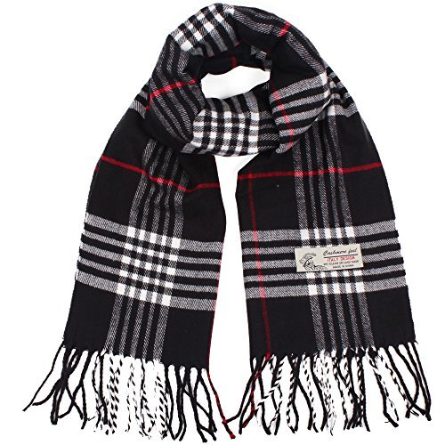 Plaid Cashmere Feel Classic Soft Luxurious Winter Scarf For Men Women ()