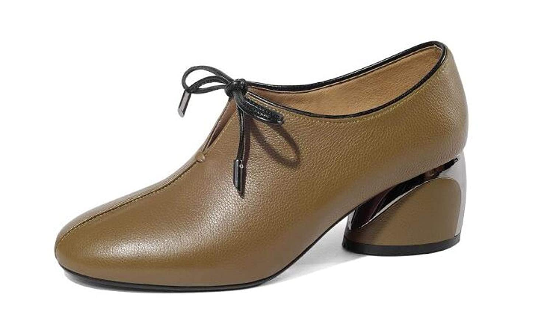 QINGMM Damen Leder Business Schuhe Runde Mode Kopf Niedrige Ferse Spitze Stiefeletten Mode Runde Bequeme Wanderschuhe 3c03f3