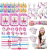 POKONBOY 72 Pack Unicorn Party Favors Supplies for Kids Unicorn Party Favor Bags, Masks, Rings, N...