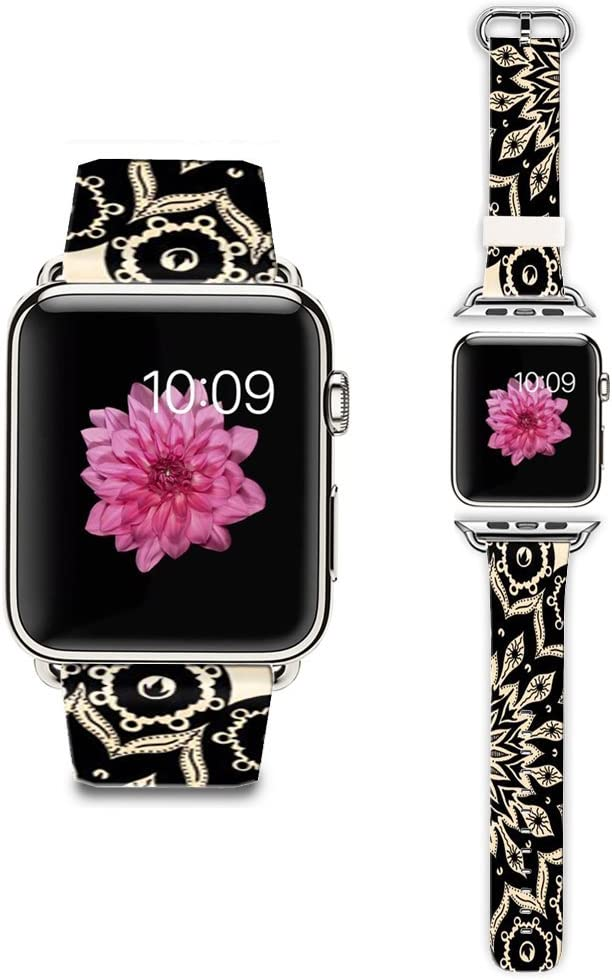 LAACO Band Compatible for Apple Watch 38mm 40mm, Floral Leather Replacement Strap for iWatch 38mm Series 5/4/3/2/1, Sports & Edition Vintage Beautiful Black Deco Mandala Amulet
