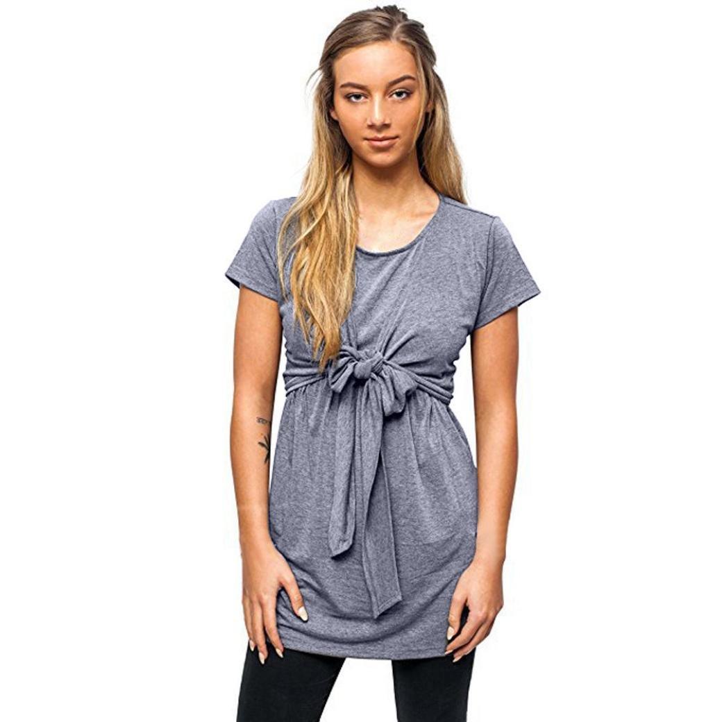 Coromose Women Short Sleeve Tie T Shirt Nursing Breastfeeding Pregnant Tops Coromose 1569