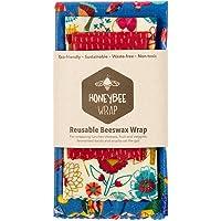 HoneyBee Wrap 3-Piece Reusable Beeswax Wraps Set, Small/Medium/Large,