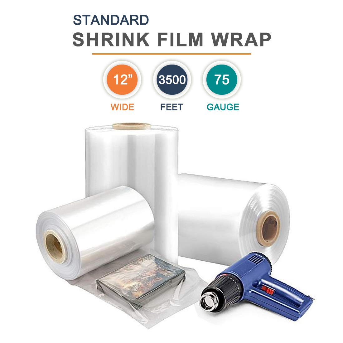 12 inch Polyolefin Centerfold Shrink Film Standard, Excellent Clarity High Gloss, 3500 ft x 75 Gauge Thick, 1 Roll