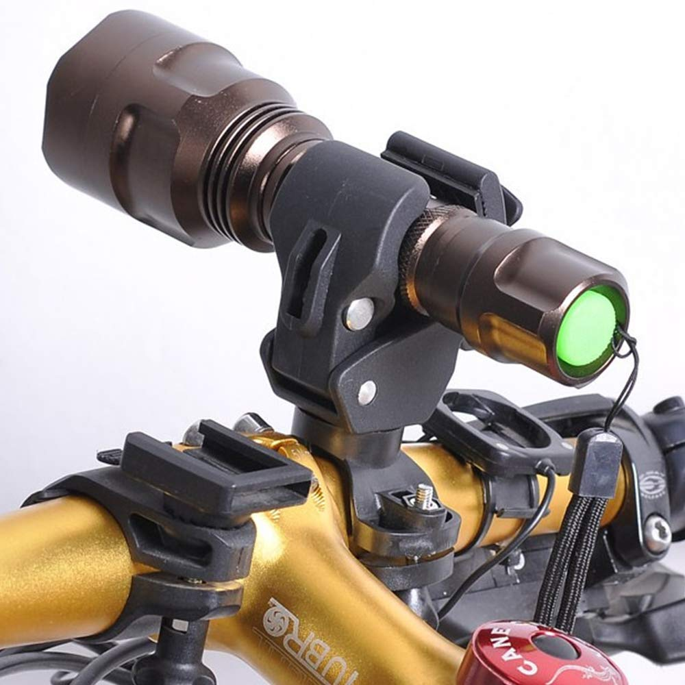 Art city 360 Degree Rotating Bicycle Handlebar Mount LED Flashlight Torch Clip Mount Holder Grip