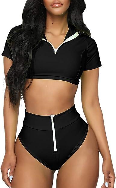 Women One Piece Swimsuit Short Sleeve Bikini Swimwear Zipper Padded Bathing Suit