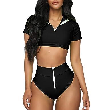 6947d39aa2 Amazon.com: HIKO23 Womens Sexy Zipper Front Crop Top Rash Guard Short  Sleeve High Cut Sporty Two Piece Bikini Set Swimsuit: Clothing