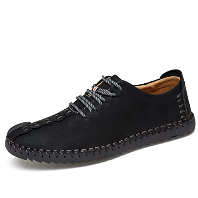 Laiwodun Mens Casual Flat Shoes Handmade Retro British Style Lace up Slip On Leather Oxford Loafers LowTop Sneakers  IAHPP1SA0