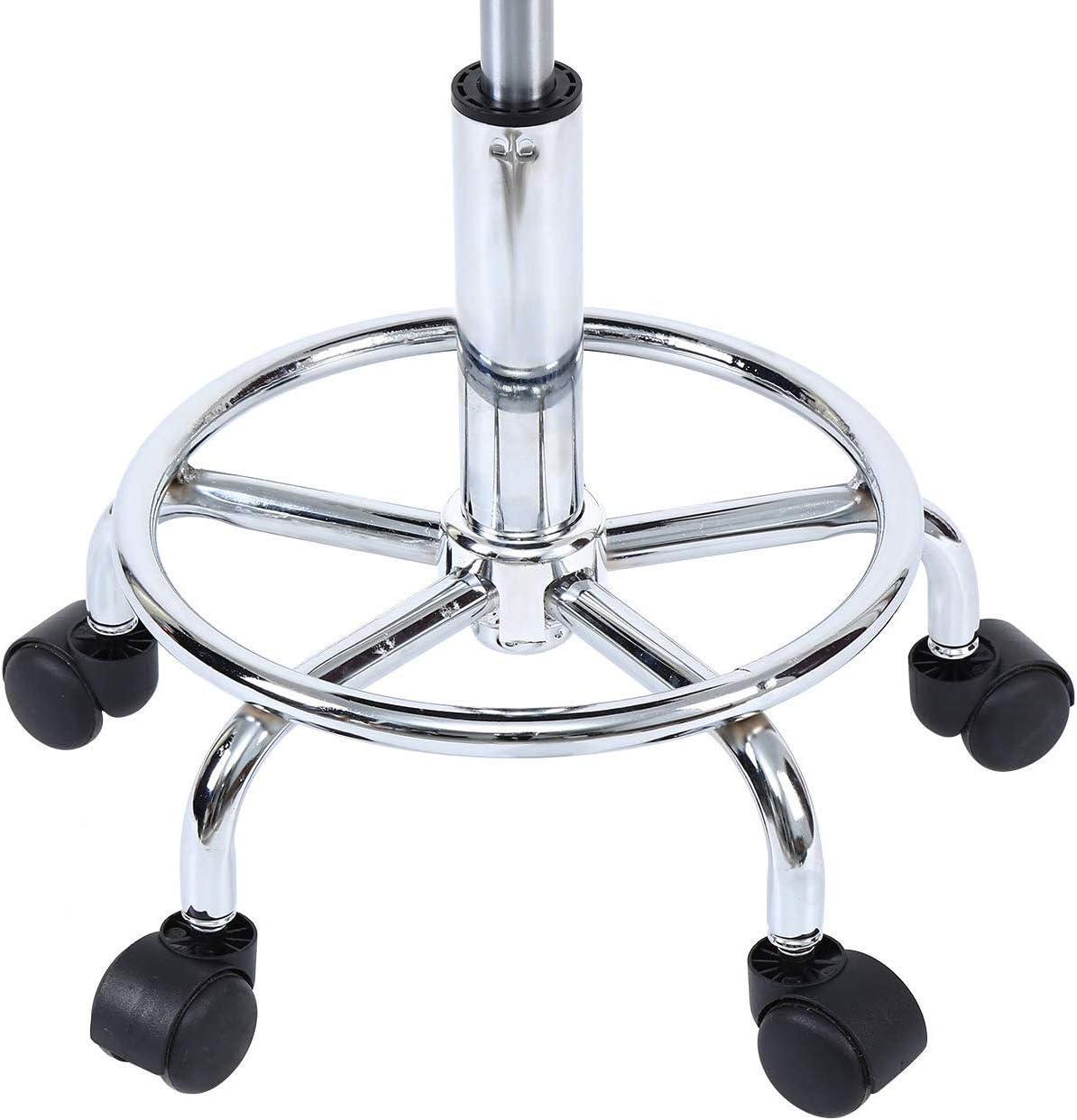 Schwarz XuanYue Drehhocker Arbeitshocker Rollhocker mit R/ückenlehne B/ürostuhl H/öhenverstellbar Rollen 360/° Drehbar