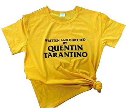 4980c823a Women's Graphic Tshirts Written and Directed by Quentin Tarantino Printed  Tops S Golden