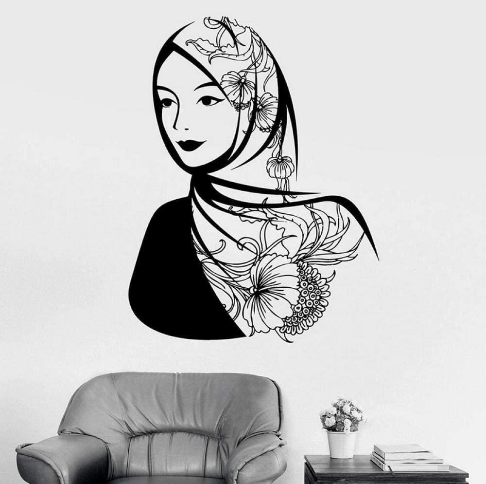 SSHNGM Wall Sticker Beautiful Woman Wall Decal Arabic Headscarf Muslim Islam Vinyl Window Stickers Girls Bedroom Home Decor Flowers Art Mural 57X73Cm Wall Decals