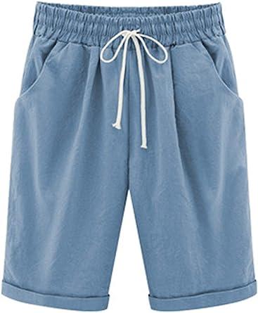 WSLCN - Pantalones cortos de playa para mujer, hasta la rodilla ...