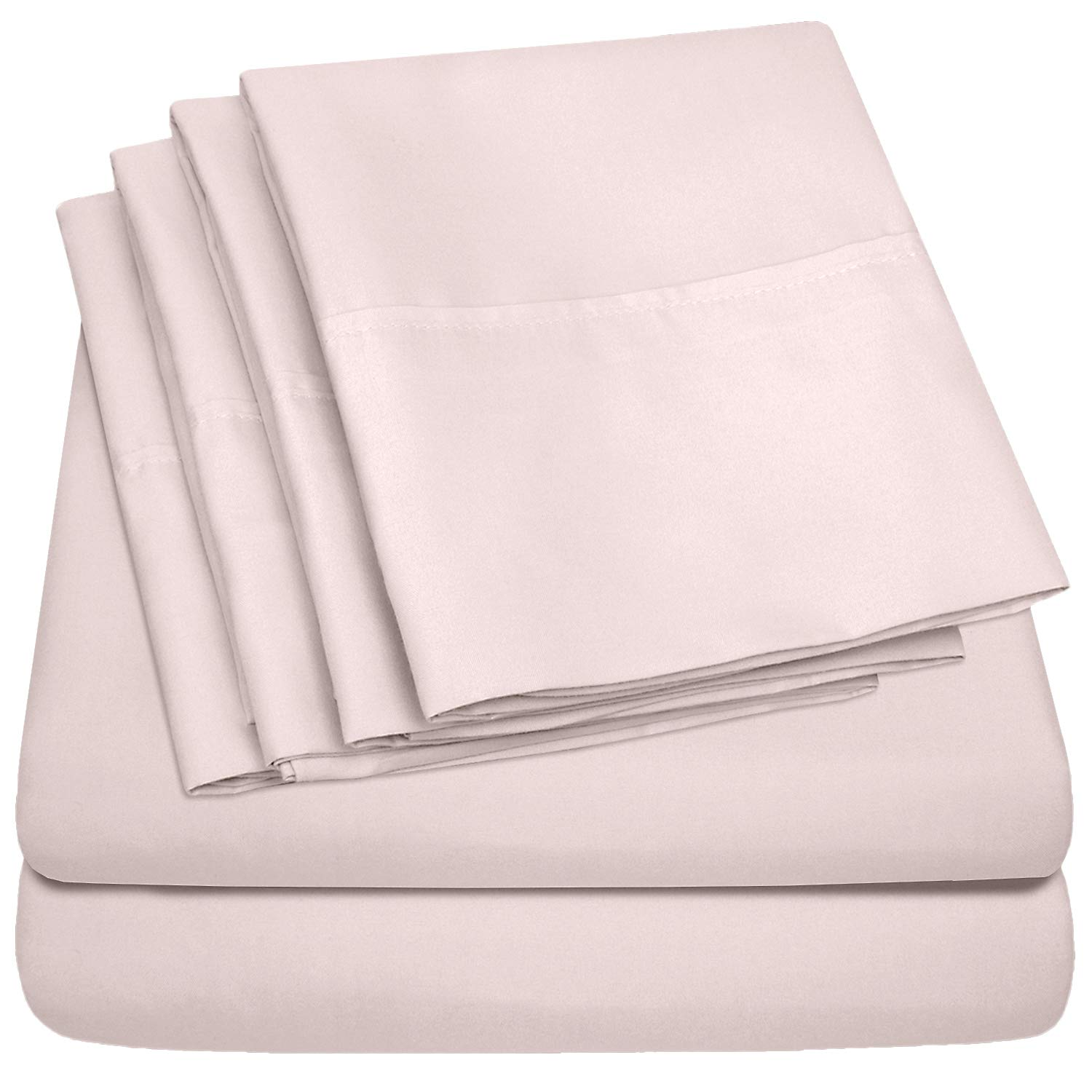 Queen Sheets Pale Pink - 6 Piece 1500 Thread Count Fine Brushed Microfiber Deep Pocket Queen Sheet Set Bedding - 2 Extra Pillow Cases, Great Value, Queen, Pale Pink