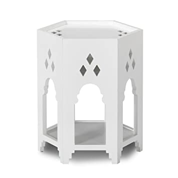 Taj Bout De Canapé Blanc Esprit Oriental Avec Vide Poche Caché Blanc