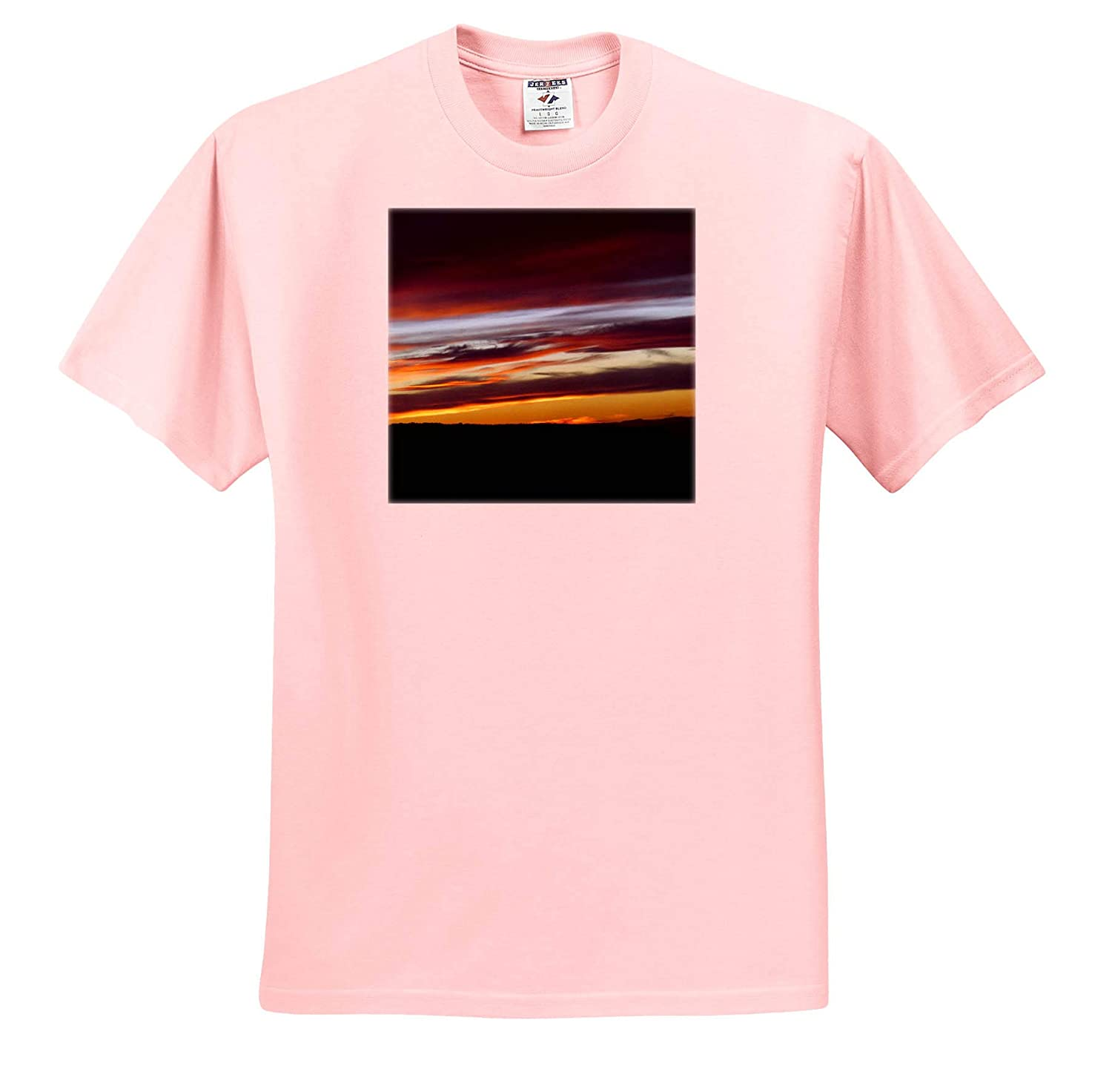 ts/_320283 A Sunset with Blue and Gray and red and Orange on Black 3dRose Jos Fauxtographee- Sunset Adult T-Shirt XL