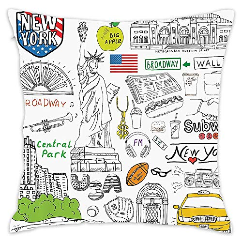 EDG Big New York City Culture with Metropolitan Museum Broadway Crossroad Wall Street Sketch Style 18