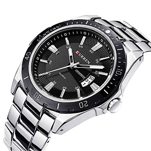 LYMFHCH New Fashion Men's Quartz Sports Analog Wrist Watch 8110G (Silver+Black)