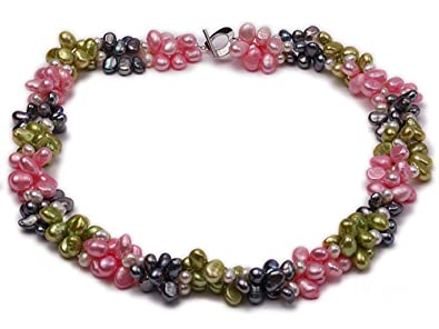 37ccb705b Image Unavailable. Image not available for. Color: JYX Three-strand 7-8mm  Colorful Cultured Freshwater Pearl Necklace