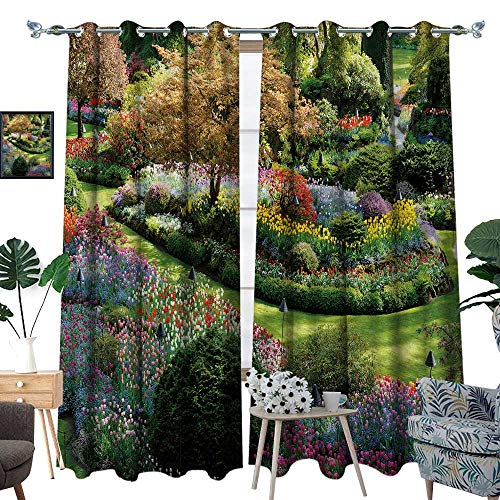 (fengruihome Window Curtain Drape Decor Curtains for Living Room/Bedroom National Torical Site Butchart Garden in SPR Victoria British Columbia 72