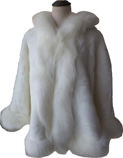 Poncho De Piel Mujer Piel Sintética Chal Encapuchado Invierno Informales Anchas Espesar Clásico Caliente Chaqueta De
