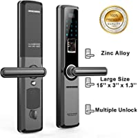 Qukidy Large Size Zinc Alloy Fingerprint Touch Password Door Lock with Handle Key Non Slider IC Card (Black)