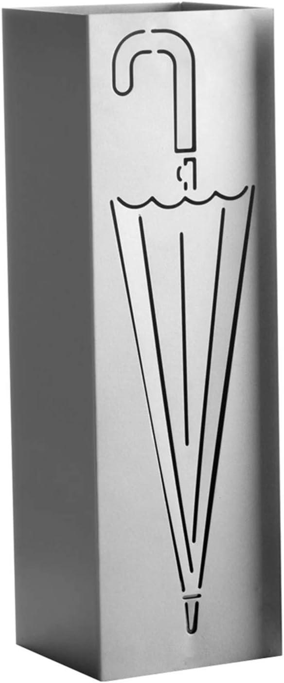 CT Porta Ombrelli in Metallo Portaombrelli Quadrato con Gancini e Vaschetta Scolapioggia Rimovibile Silver