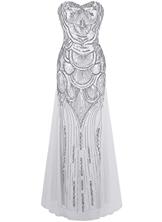 ASVOGUE Womens Sequin Decor Lace up Back Prom Dress, Silver L