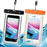 防水携帯ケース 防水ケース スマホ用 IPX8規格 夜間発光 潜水 お風呂 水泳 砂浜 水遊びなど用 フォンケース・カバー フローティング 【iPhone X / 8/7/6 / Plus とAndroid SAMSUNG Galaxy S8/S7 edge/SONY Xperia/HUAWEI ネックストラップ付属 各種のスマホ防水ケース6インチまで対応】- 2枚セット (黒 とオレンジ)