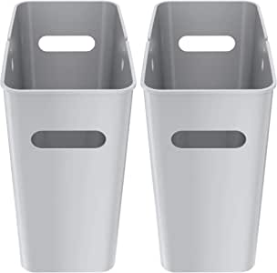 iTouchless SlimGiant 4.2 Gallon Slim Trash Can with Handles, 2-Pack 16 Liter Plastic Small Wastebasket Hanging Garbage Bin, Magazine/File Folder Storage Container, Home Office Bathroom Kitchen, Silver