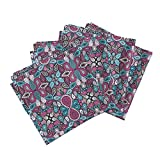 Roostery Mirror Repeat Linen Cotton Dinner Napkins Paisley Craze by Siya Set of 4 Cotton Dinner Napkins Made