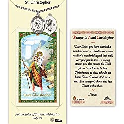 Pewter St. Christopherwrestling Medal On An 24 Inch Heavy Curb Chain With A Prayer To St Cristopher Prayer Card.