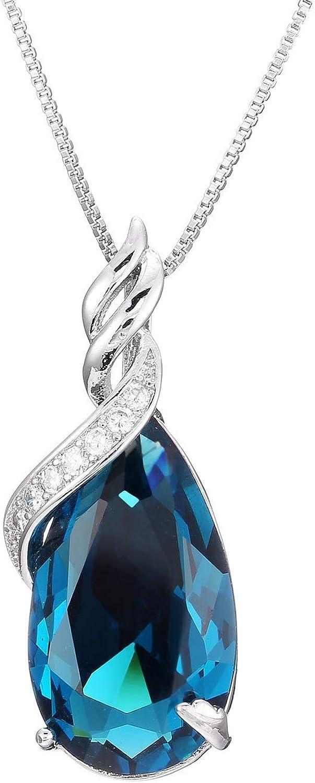 WANGJIA 925 Joyas De Moda De Plata Colgantes Azules Piedras Preciosas Collar Natural Mujer Zafiro Colgantes Joyería Amatista